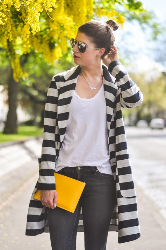 Thankfifi- Asos stripe coat & Iris & Ink yellow clutch-3