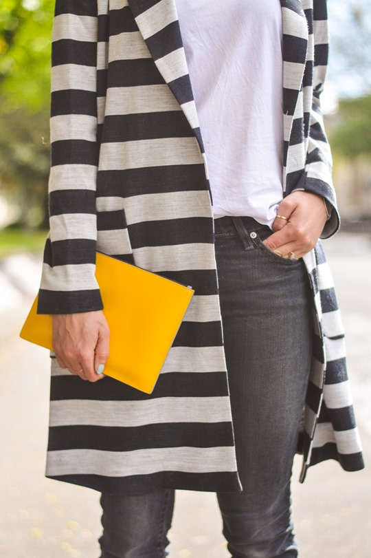 Thankfifi- Asos stripe coat & Iris & Ink yellow clutch-6