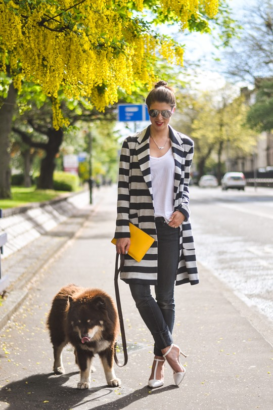 Thankfifi- Asos stripe coat & Iris & Ink yellow clutch