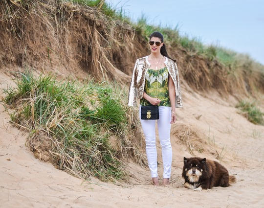 Thankfifi- Ted Baker Blubele sequin jacket &  palm print-3