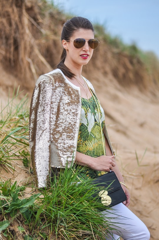 Thankfifi- Ted Baker Blubele sequin jacket &  palm print-7