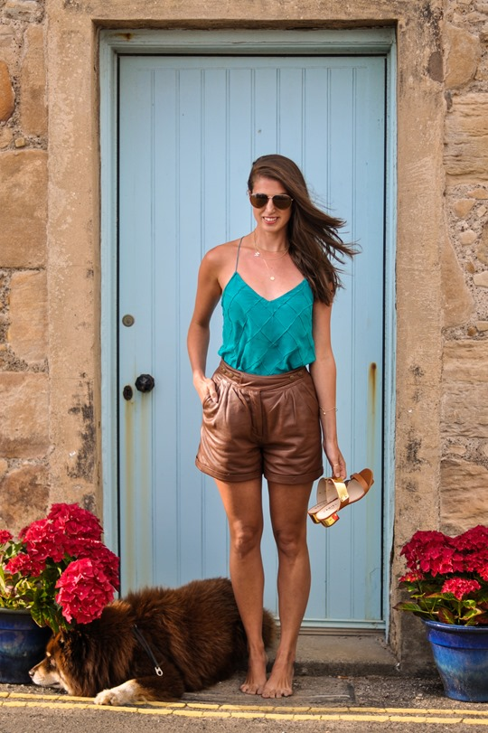 Thankfifi- Gat Rimon silk tank & Topshop tan leather shorts-3