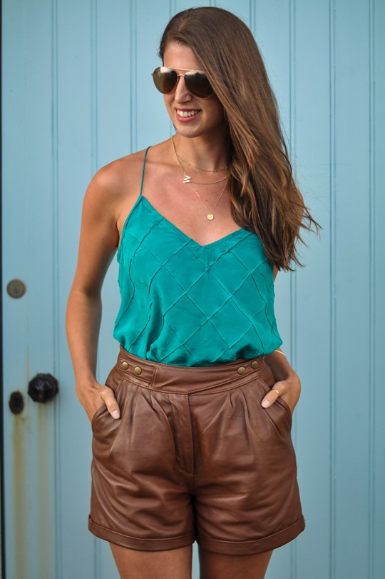 Thankfifi- Gat Rimon silk tank & Topshop tan leather shorts-6