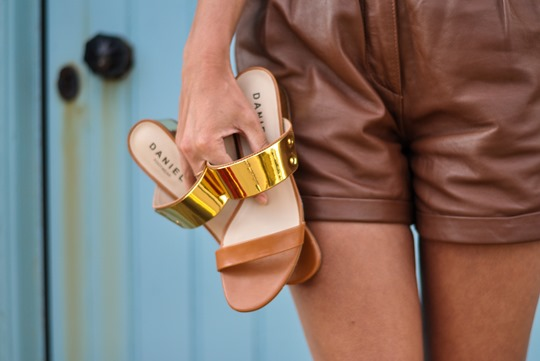 Thankfifi- Gat Rimon silk tank & Topshop tan leather shorts-9