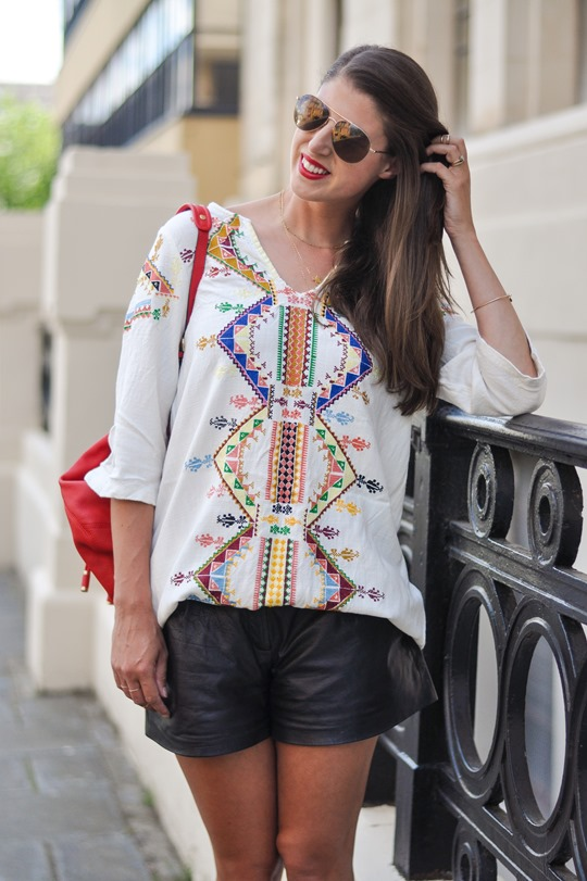 Thankfifi- Kate Moss Topshop embroidered kaftan & Theory leather shorts-3