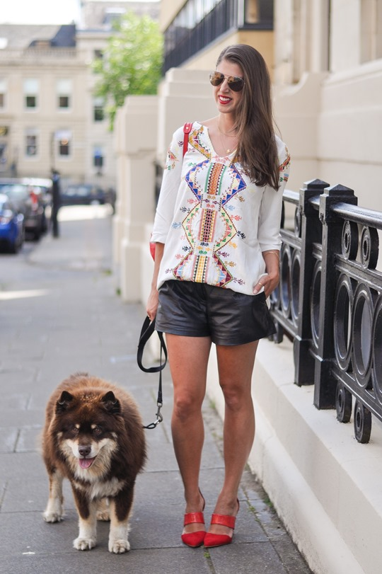 Thankfifi- Kate Moss Topshop embroidered kaftan & Theory leather shorts
