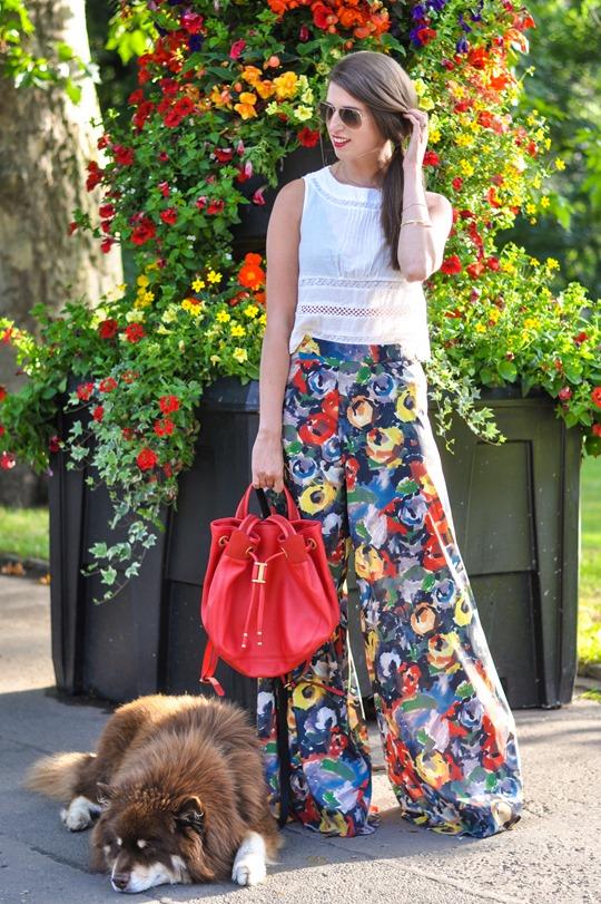 Thankfifi- Alice & Olivia floral palazzo pants