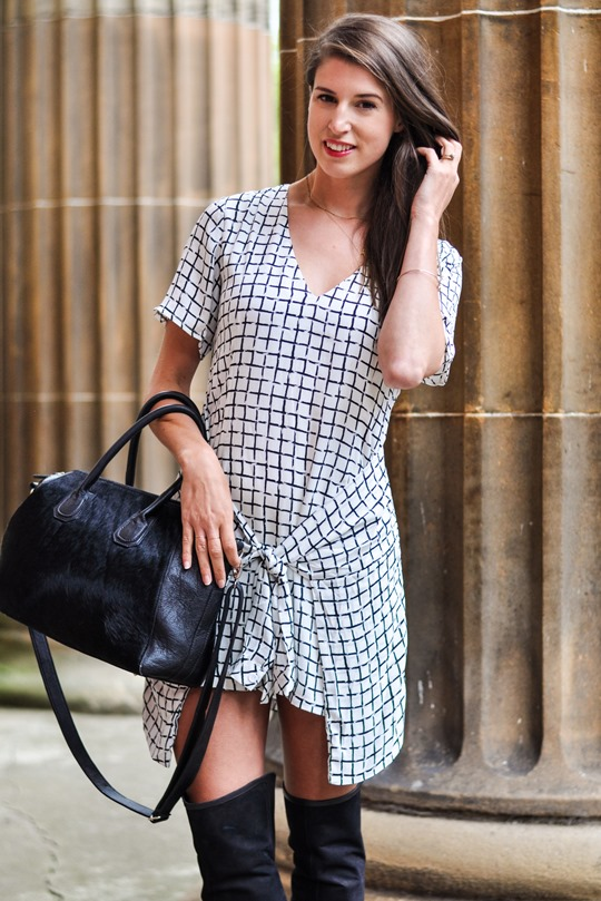 Thankfifi- Missguided checked knotted shirt dress - fashion blogger streestyle-4