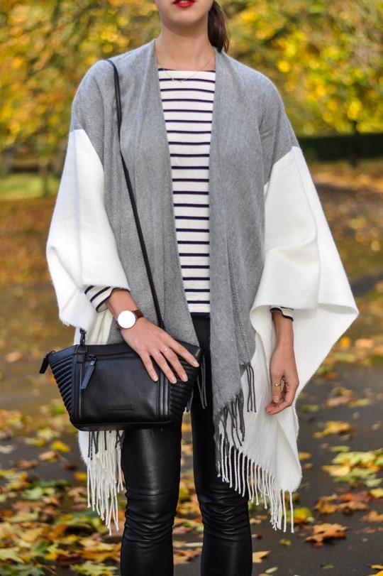 Thankfifi- Asos grey cream poncho cape 5 ways - fashion blogger style challenge-8