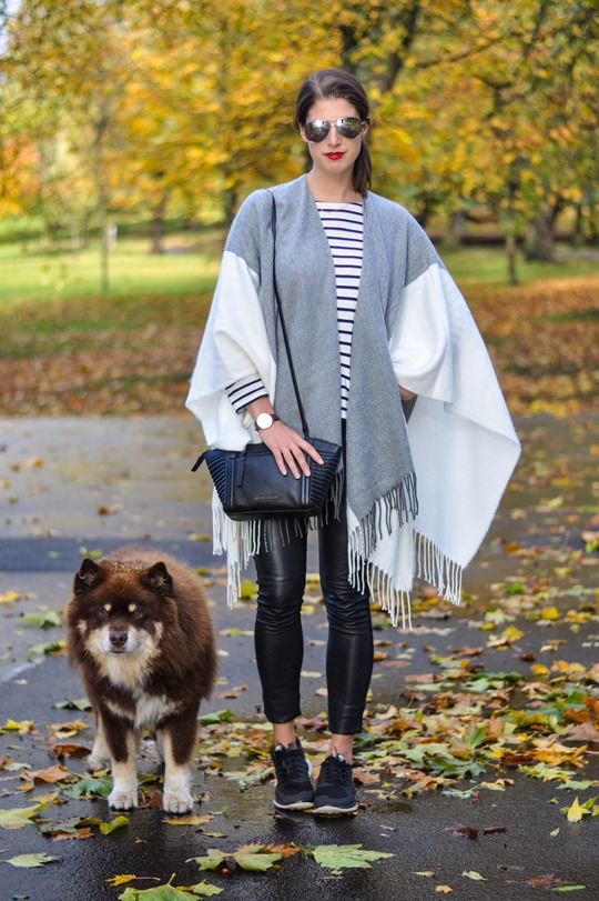 Thankfifi- Asos grey cream poncho cape 5 ways - fashion blogger style challenge