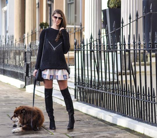 Thankfifi- Finders Keepers Strange Fire Tartan Creampuff dress w Sophia Webster over knee boots-5