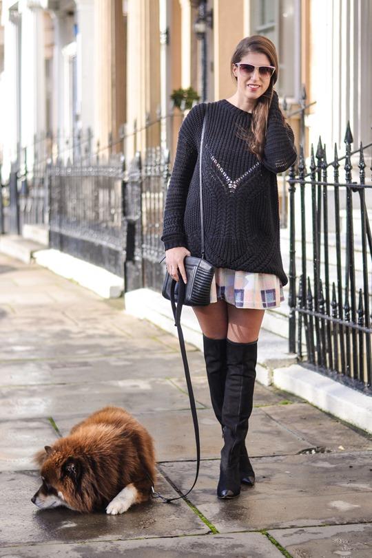 Thankfifi- Finders Keepers Strange Fire Tartan Creampuff dress w Sophia Webster over knee boots-2