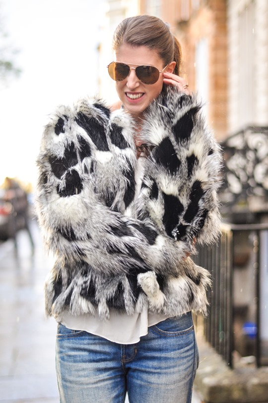 Next patchwork fur coat - fashion blogger streetstyle | Thankfifi
