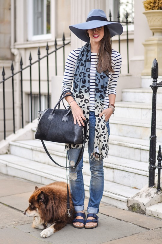 Thankfifi - Travel style in River Island blue fedora & Feather & Stone leopard scarf - fashion blogger streetstyle