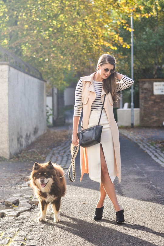Thankfifi- sleeveless trench, breton top & ponyskin mules - fashion blogger streetstyle-3