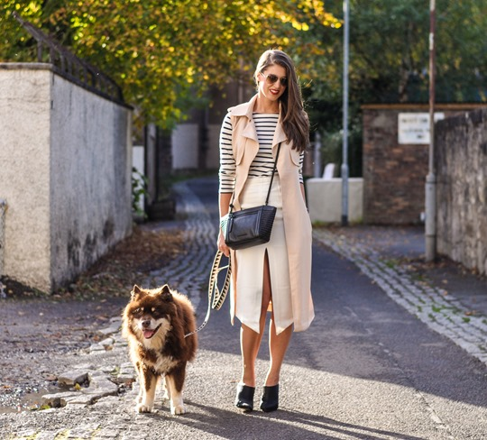 Thankfifi- sleeveless trench, breton top & ponyskin mules - fashion blogger streetstyle-4-ii