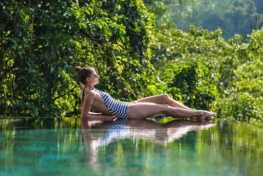 Thankfifi- Seafolly Mod Club high neck swimsuit - Hanging Gardens private villa pool, Ubud, Bali-2