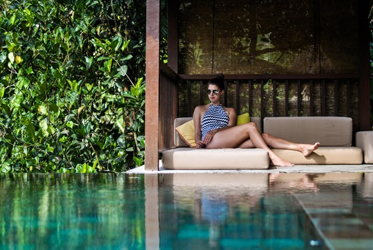 Thankfifi- Seafolly Mod Club high neck swimsuit - Hanging Gardens private villa pool, Ubud, Bali