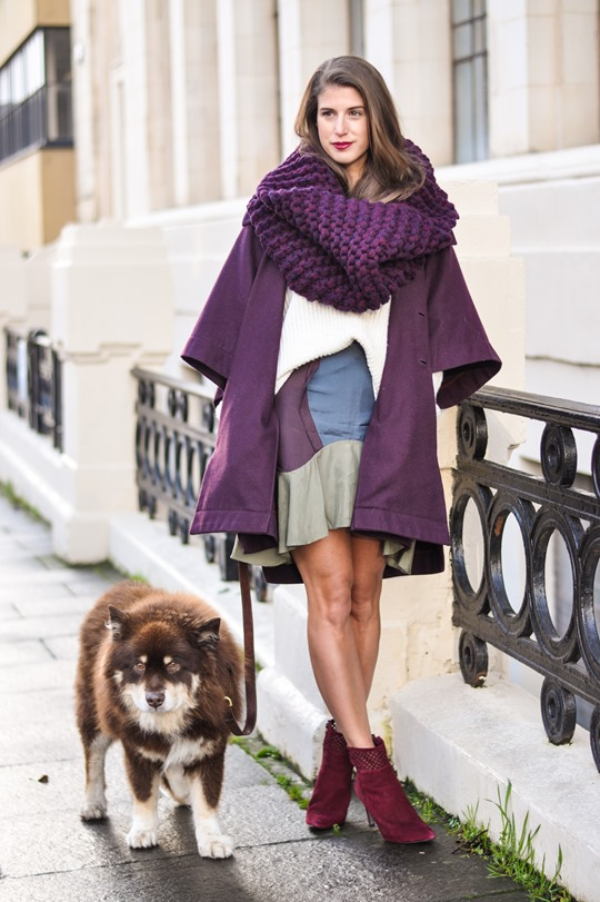 Thankfifi- Vogue Eyewear - Knit Knot Knit snood & Chloe burgundy cape coat - fashion blogger street style