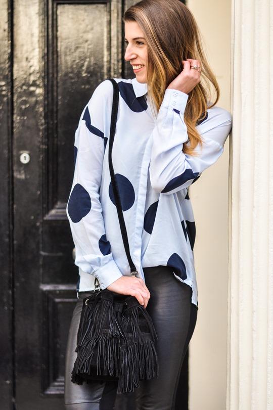 Thankfifi- Hallhuber polkadot shirt & leather leggings-12