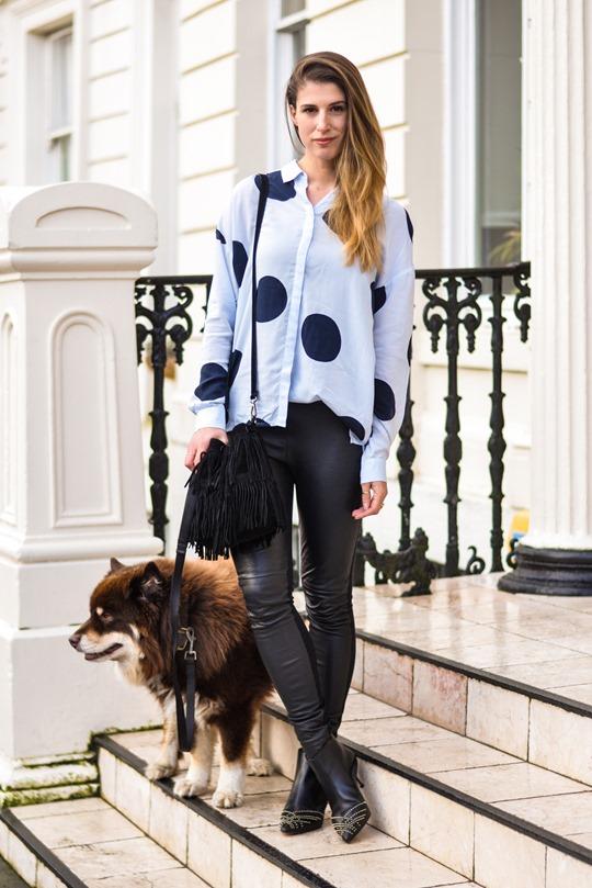 Thankfifi- Hallhuber polkadot shirt & leather leggings-3