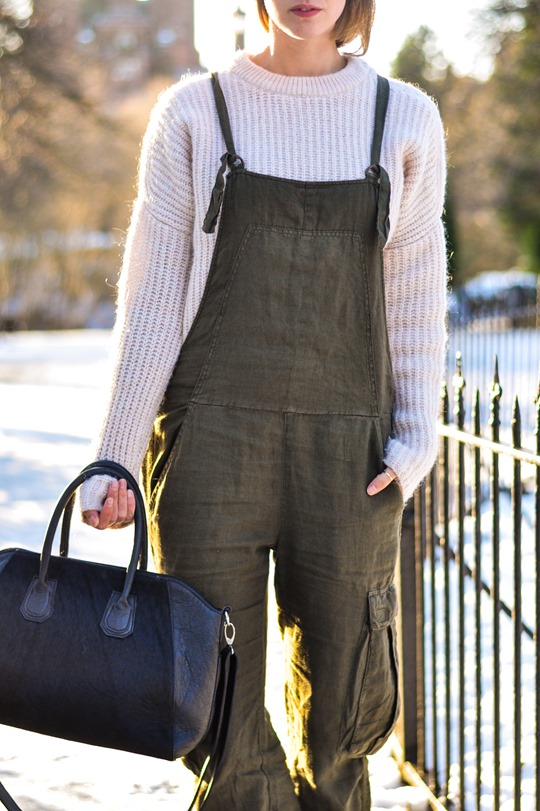 Thankfifi- Khaki overalls - fashion blogger street style in the snow-6