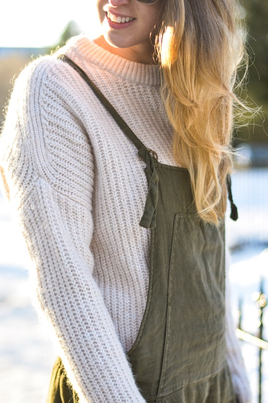 Thankfifi- Khaki overalls - fashion blogger street style in the snow-7
