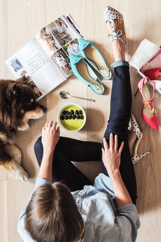 Thankfifi- Boden polkadot Alice heels & mango, avocado, kale smoothie bowl