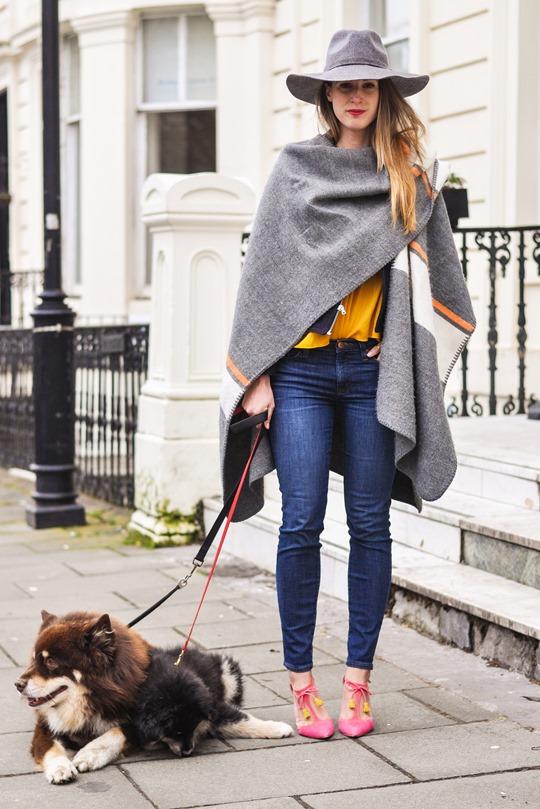 Thankfifi- Crusader - Topshop blanket cape & Boden Alice heels
