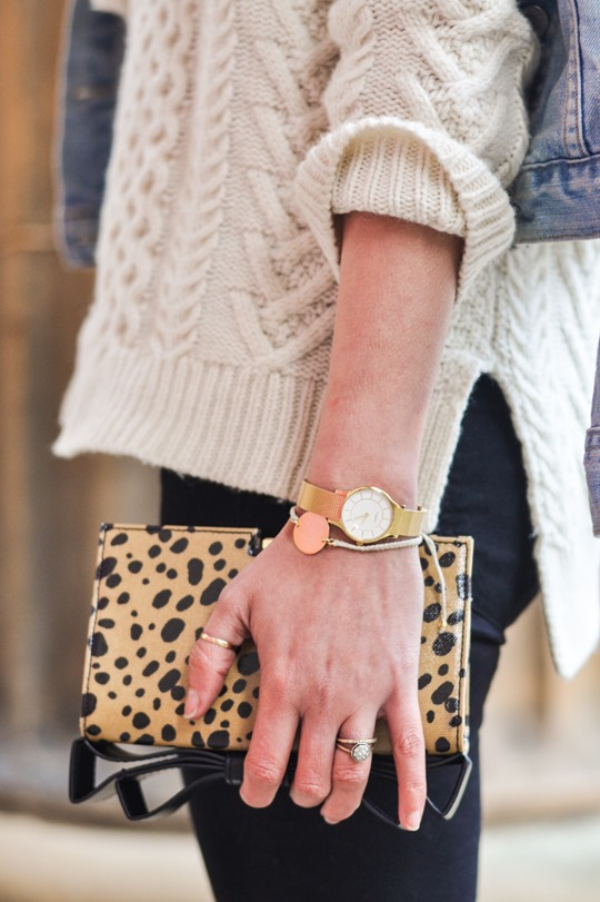 Thankfifi- Gant Rugger cable knit jumper & the Zac Posen leopard bow clutch-10