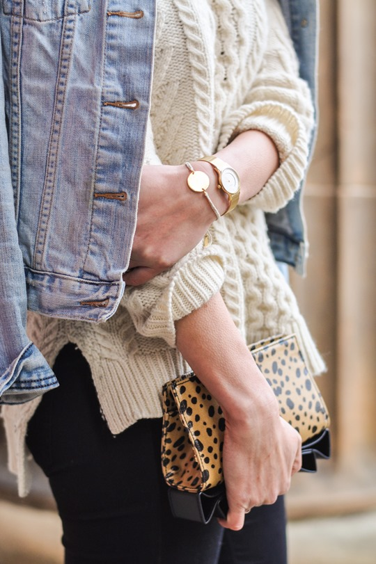 Thankfifi- Gant Rugger cable knit jumper & the Zac Posen leopard bow clutch-11