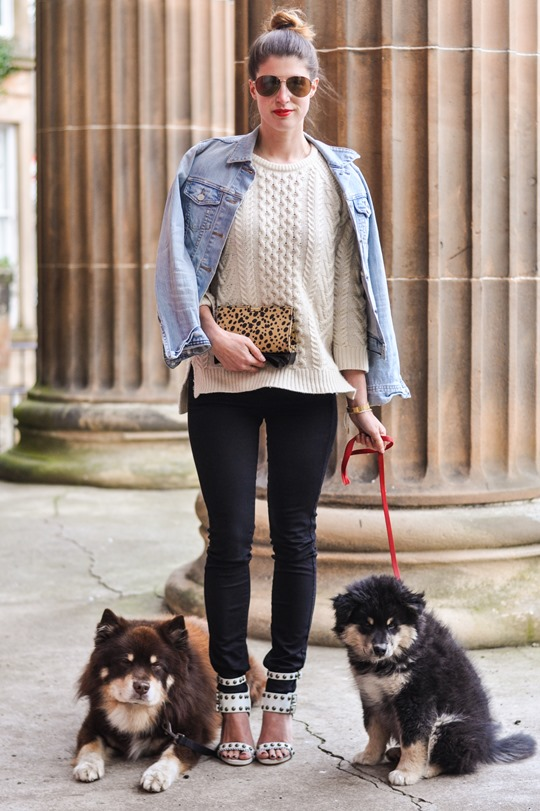 Thankfifi- Gant Rugger cable knit jumper & the Zac Posen leopard bow clutch-1