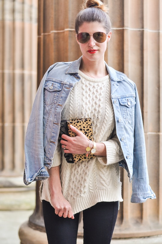 Thankfifi- Gant Rugger cable knit jumper & the Zac Posen leopard bow clutch-5