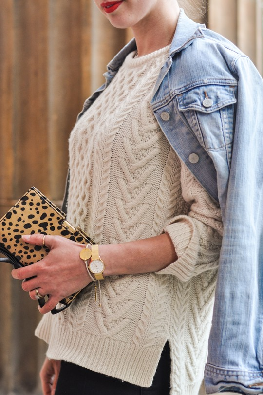 Thankfifi- Gant Rugger cable knit jumper & the Zac Posen leopard bow clutch-9