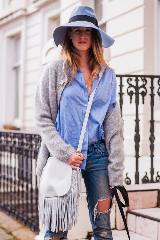 Thankfifi-  Spring styling - fringing, ripped denim & a blue fedora-11
