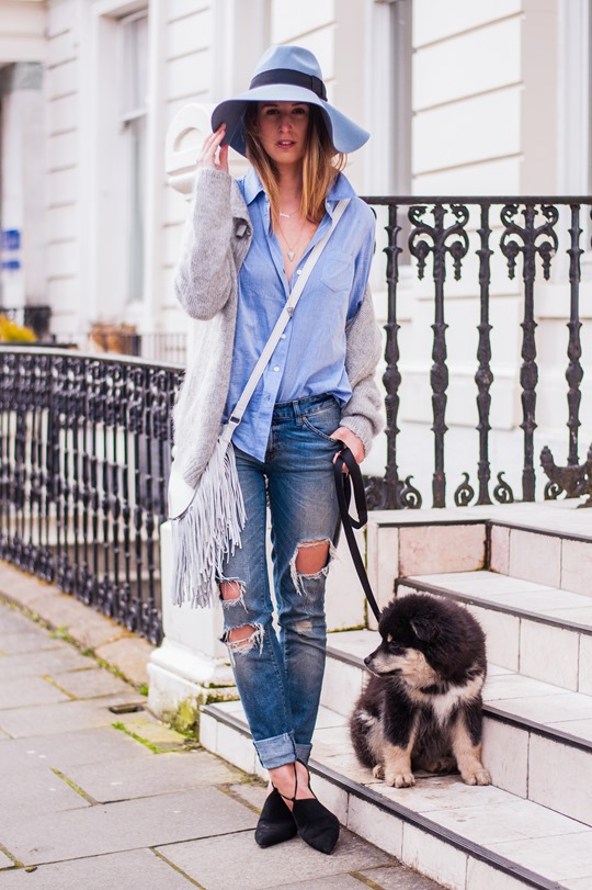 Thankfifi-  Spring styling - fringing, ripped denim & a blue fedora-3