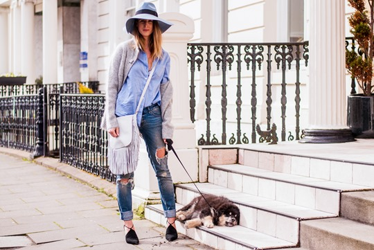 Thankfifi-  Spring styling - fringing, ripped denim & a blue fedora-9