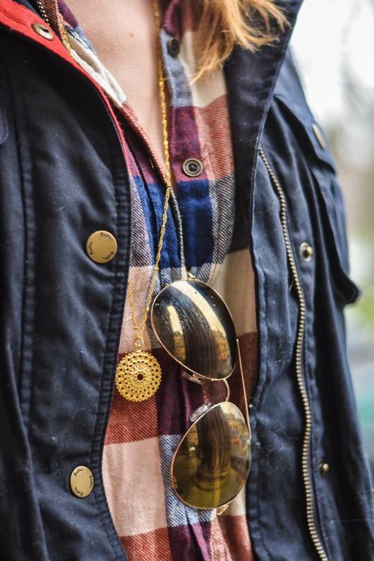Thankfifi- Weekend mini break style in Boden wax jacket red leather weekend bag-10