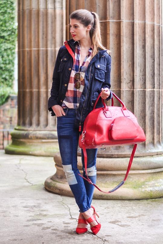 Thankfifi- Weekend mini break style in Boden wax jacket red leather weekend bag-3