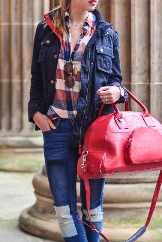 Thankfifi- Weekend mini break style in Boden wax jacket red leather weekend bag-4b
