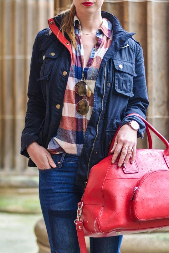 Thankfifi- Weekend mini break style in Boden wax jacket red leather weekend bag-6