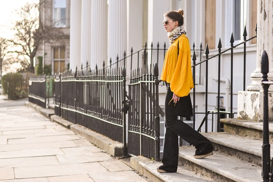 Thankfifi- 70s streetstyle in 7 For All Mankind flares & H&M Trend yellow boho blouse-10