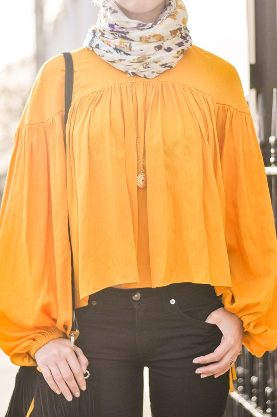 Thankfifi- 70s streetstyle in 7 For All Mankind flares & H&M Trend yellow boho blouse-3