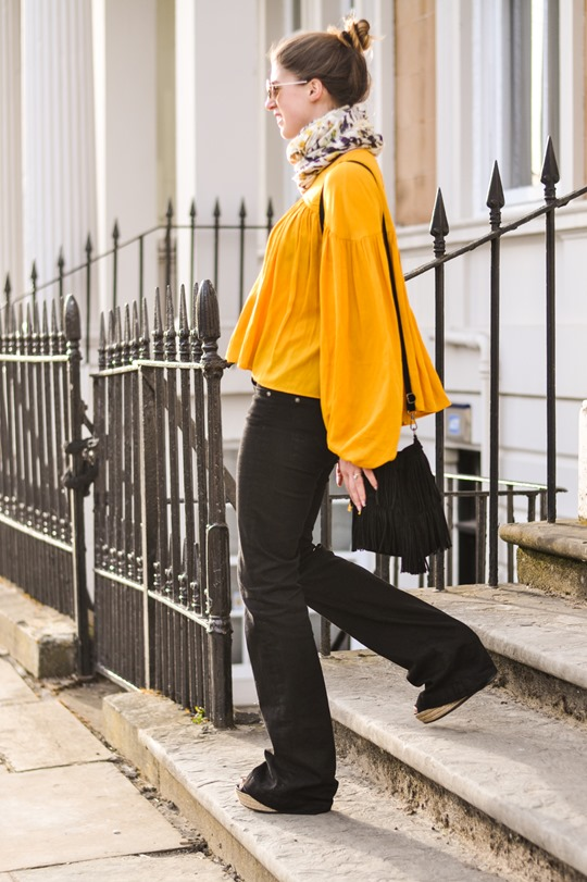 Thankfifi- 70s streetstyle in 7 For All Mankind flares & H&M Trend yellow boho blouse-8