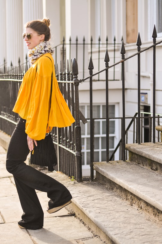 Thankfifi- 70s streetstyle in 7 For All Mankind flares & H&M Trend yellow boho blouse-9