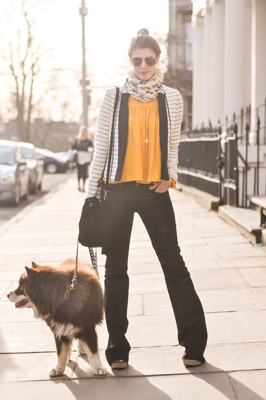 Thankfifi- 70s streetstyle in 7 For All Mankind flares & H&M Trend yellow boho blouse