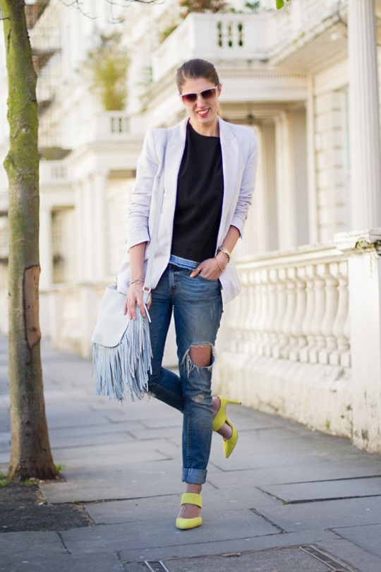 Thankfifi- Boden Thelma heel mules & Next white leather fringe saddle bag - a look for London meetings