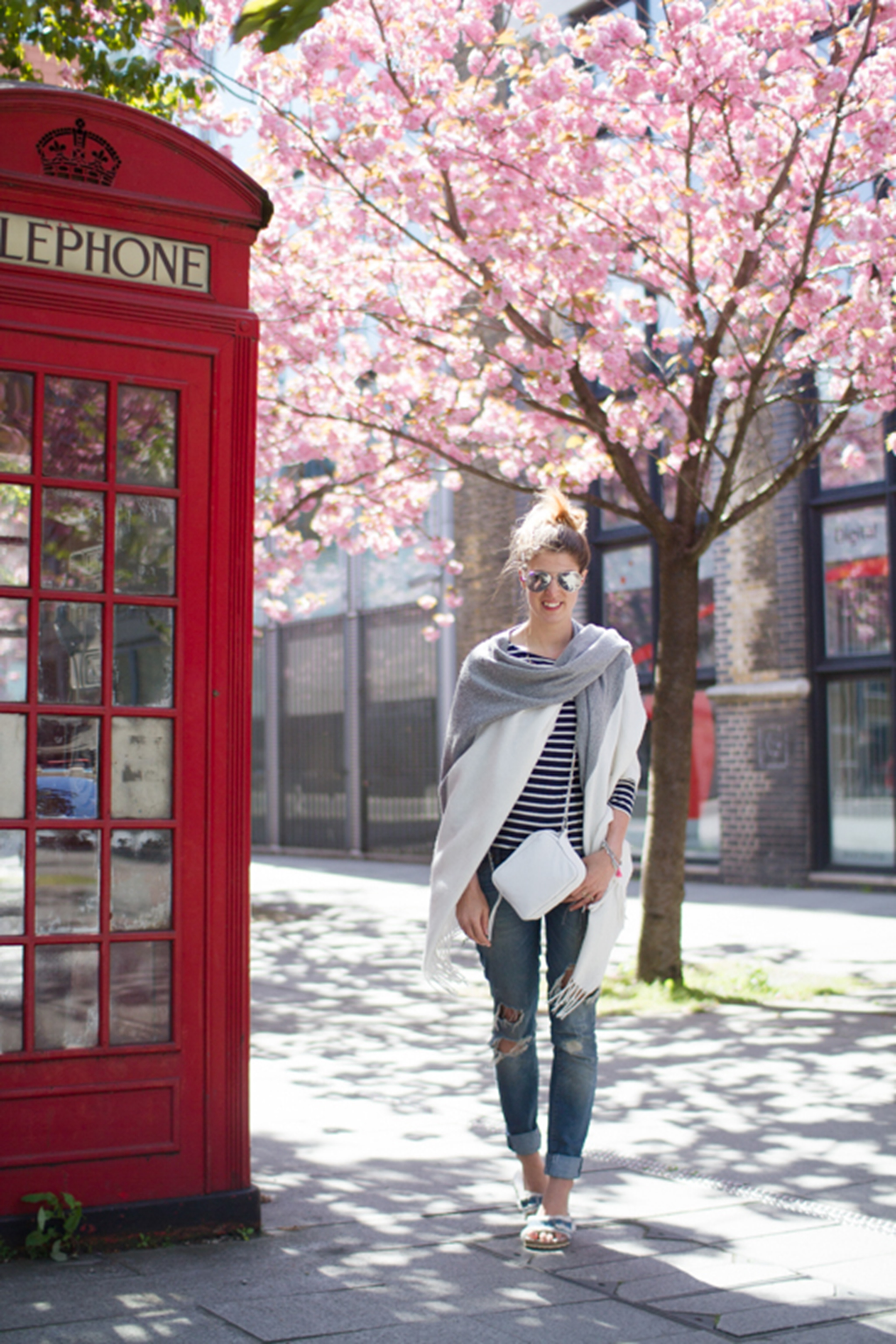 Thankfifi- Boden breton stripes & Asos colour block cape - cherry blossom street style in London-14