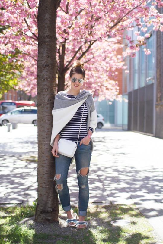 Thankfifi- Boden breton stripes & Asos colour block cape - cherry blossom street style in London-5