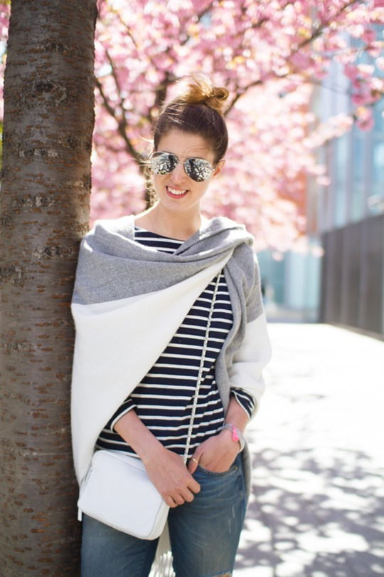 Thankfifi- Boden breton stripes & Asos colour block cape - cherry blossom street style in London-7